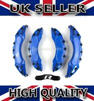 UNIVERSAL BRAKE CALIPER COVERS SET KIT FRONT & REAR BLUE ABS 4PCS - R STICKER
