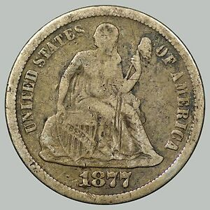 1877-CC 10C Liberty Seated Dime