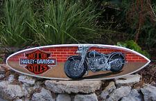 Harley Davidson Biker Motorcycle Surfboard Sign Wall Plaque Tiki Bar Wood  39