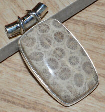 Indonesian Fossil Coral 925 Sterling Silver Pendant Jewelry JJ5016