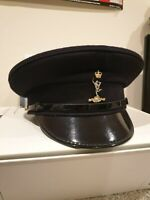 British Army Royal Signals Peaked Cap Black Dress Military Uniform Hat MOD REME