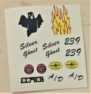 1/32 Strombecker slot car WATERSLIDE Decal Sheet #239 SILVER GHOST Dragster