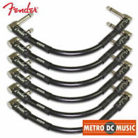 """4-Pack Fender Professional 6/"""" Black Right-Angle Pedal Patch Cable Cord 1//4/"""" NEW"""