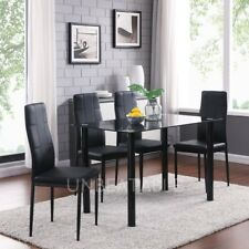 Black Glass Dining Table Set and 4 Black Faux Leather Chairs Furniture