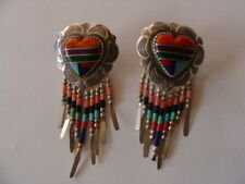 Q.T. STERLING SILVER + INLAY TURQUOISE,LAPIS,CORAL HEART ,EARRINGS
