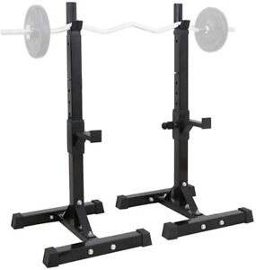 "Portable Adjustable 40""-66"" Squat Rack Power Rack Barbell Holder Max Load 441Lbs"