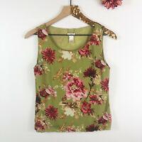 J. JILL Women's Reversible Tank Top Blouse Green Floral Print Size S