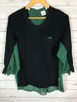 CAbi #3520 Women's Green Get Together Sheer Knit 3/4 Sleeve Sweater Top Medium M