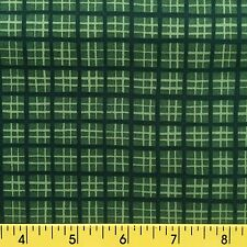 AMERICAN BEAUTIES cotton fabric for sewing and quilting  GREEN PLAID light dark