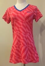 Nike Pro Dri-Fit Fitted Top Red Pink Geometric Women's Medium V Neck Tennis