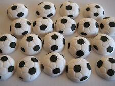 12 EDIBLE SOCCER BALLS Sugar Cake Cupcake Decorations BIRTHDAY Sport Windup 3cm