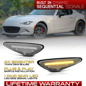 16+ Mazda MX5 Miata/09-11 RX8 Sequential Amber LED Side Marker Lights Lamps Pair