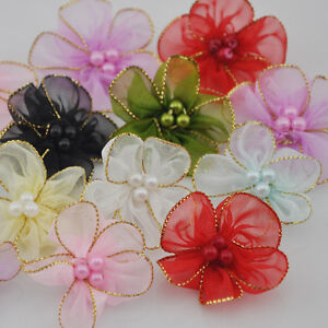 40pcs organza ribbon w/beads flowers wedding sewing appliques crafts A27
