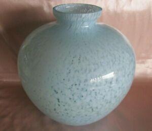 Antique Big Vase Ball Glass Art Deco Mottled Blue Sky