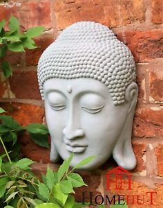 "Garden Ornamant Buddha Head Wall Thai Zen Face Plaque Indoor Outdoor 33cm 13."""