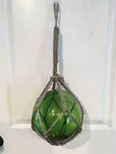 "Lg Green Vintage Blown Glass Fishing Float Rope Buoy Ball 9"" 26"" Circumference"