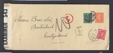 UK 1944 WWII CENSORED  10C SWITZERLAND POSTAGE DUE ON COVER TO BREITENBACH