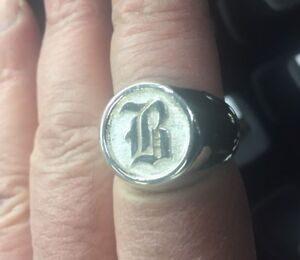 Old English Custom made Initial ring Solid Sterling Silver 925