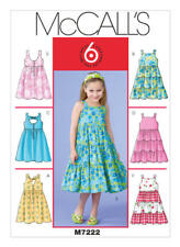 McCall's Sewing Pattern M7222 SZ 6-8 Children's Girls' Easy Dresses Pinafores