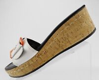 Donald J Pliner Sukey Mules Sandals Leather Wedge Platform Women's Sz 10M White