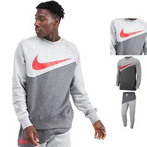 Men's Nike Tracksuit Set Swoosh Crew Neck Sweatshirt Pants Grey Red Mix Match