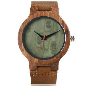 Trendy Bangle Genuine Leather Strap Nature Wood Bamboo  Men Women Wrist Watch