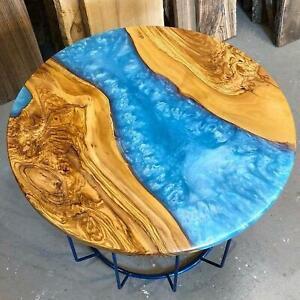 Round Blue Epoxy Wooden Walnut Resort Decorative Custom Epoxy Table Furniture