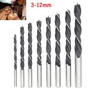 3-12mm Brad Point Wood Twist Drill Bits HCS MDF Soft Hard Wood Plastic Cutting
