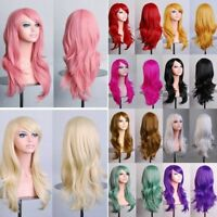 Womens Long Hair Wig Curly Wavy Synthetic Anime Cosplay Party Full Wigs Free