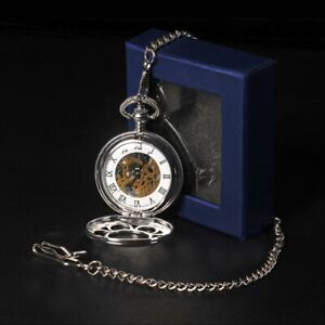 Vintage Quartz Chrome Pocket Watch with Chain 1920's Classic Peaky Blinders NEW