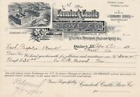 U.S. Illustrated Comstock Castle Stove Co. Quincy. 1901 Manfs. Invoice Ref 43568