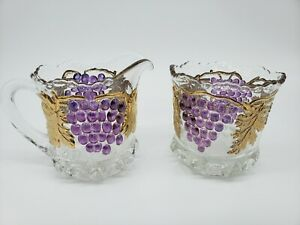 Vtg Mosser Clear Gold Grape and Cable Creamer & Sugar