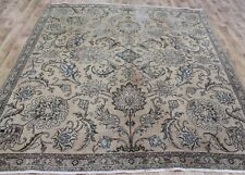 Antique Persian Tabriz Overdyed Carpet 8 x 7'4 FT Hand Knotted Wool Carpet