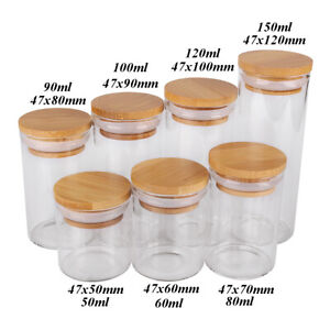 Dia 47mm 50-150ml Glass Spice Bottles Candy Jars with Bamboo Lids 7 sizes U-pick
