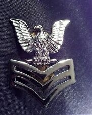 Vtg Military Rank Uniform Pin Trucker Hat Pin Silver Tone Eagle Bars WWII V-21-N