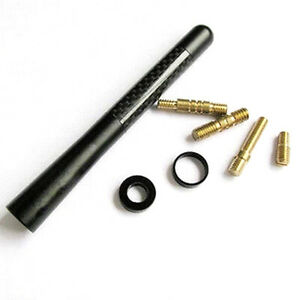 Black Carbon Fiber Auto Car Radio AM/FM Antenna Kit + Screws Adapter Universal