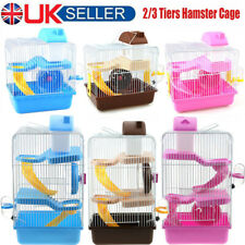 2-3 Tier Hamster Cage Pet Rodent Play House Gerbil Mice Mouse Cages Hutch Boxes