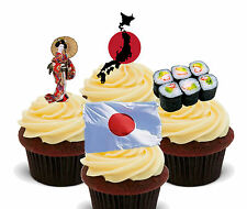Japan Fun Pack, Edible Cupcake Toppers, Stand-up Fairy Cake Bun, Japanese Flag