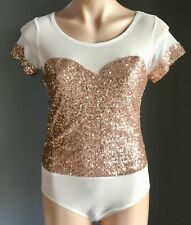 New With Tags White & Rose Gold Sequin WHITE CLOSET Bodysuit Size 12