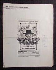 "1971 RETURN OF SABATA Pressbook VG 12x15"" 4pgs Lee Van Cleef, Reiner Schöne"