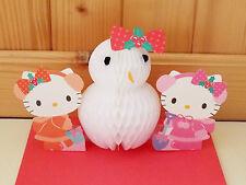 Sanrio Hello Kitty Pop-Up 3D Honeycomb X'mas Greeting Card #9764119 KT&Snow Man