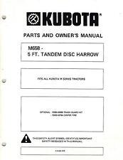 KUBOTA M658 TANDEM DISC HARROW  PARTS and OWNER'S MANUAL