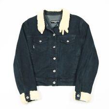 90 S Vintage Bianco Pelliccia Giacca di Jeans da donna M     Ferret Mink