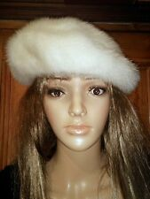 Christian Dior White Mink Woman's Hat Beret 55cm .
