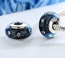 Midnight Blue Murano Glass Charm with Cubic Zirconia Stones Stamped S925 Silver