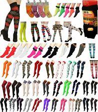 Ladies Girls OTK Socks Knee High Plain Lycra Referee Ankle Lace Stripes Socks UK