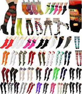 Ladies Girls OTK Socks Knee High Plain Cotton Referee Ankle Lace Stripes Socks
