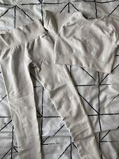 Bo + Tee Cream/Grey Gym Crop Top and Leggings Set XS Good Condition