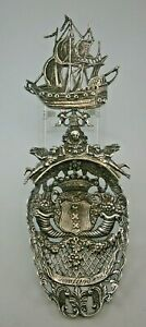 "Large Ornate Dutch Silver ""AMSTERDAM"" Souvenir Spoon Hallmarked 1902"