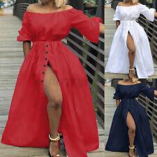 UK Womens Holiday Off Shoulder Maxi Dress Ladies Summer Beach Long Sundress 8-26